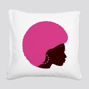 Pink_Afro Square Canvas Pillow