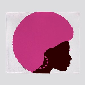 Pink_Afro Throw Blanket