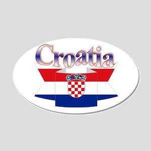 Cute Croatia ribbon 20x12 Oval Wall Decal