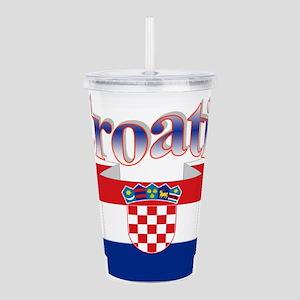 Cute Croatia ribbon Acrylic Double-wall Tumbler