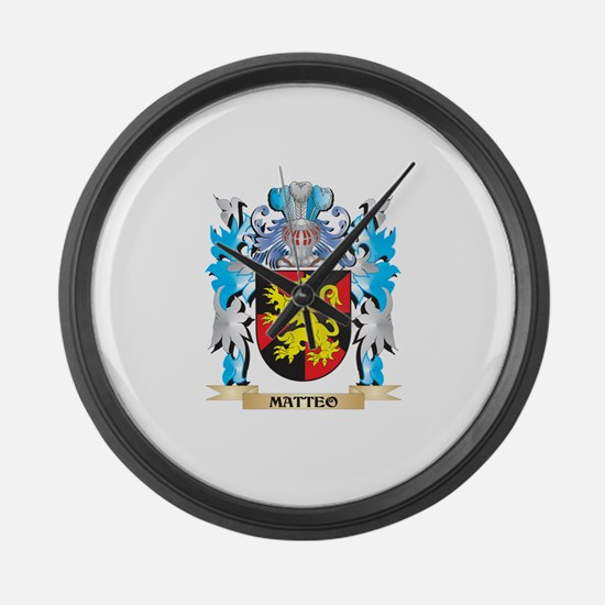 Matteo Coat of Arms - Family Cres Large Wall Clock