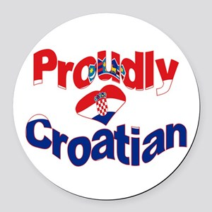 Proudly Croatian Round Car Magnet