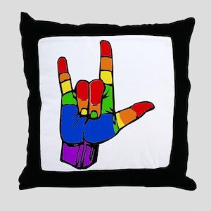 ily rainbow Throw Pillow