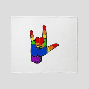 ily rainbow Throw Blanket