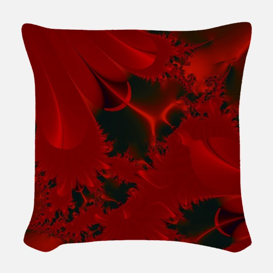 Red Fusions Fractal Art Woven Throw Pillow