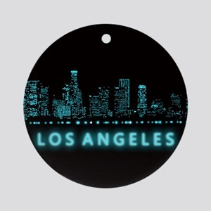 Digital Cityscape: Los Angeles, Cal Round Ornament