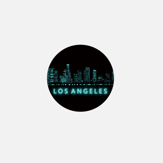 Digital Cityscape: Los Angeles, Califo Mini Button