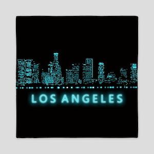 Digital Cityscape: Los Angeles, Califo Queen Duvet