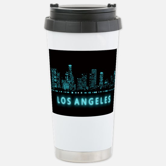 Digital Cityscape: Los Stainless Steel Travel Mug