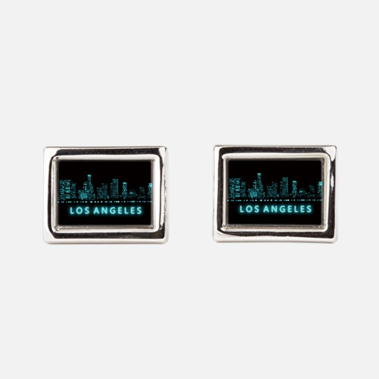 Digital Cityscape: Los Angel Rectangular Cufflinks