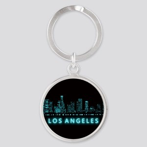 Digital Cityscape: Los Angeles, Cal Round Keychain