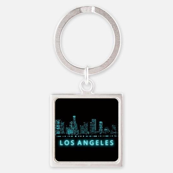 Digital Cityscape: Los Angeles, Ca Square Keychain