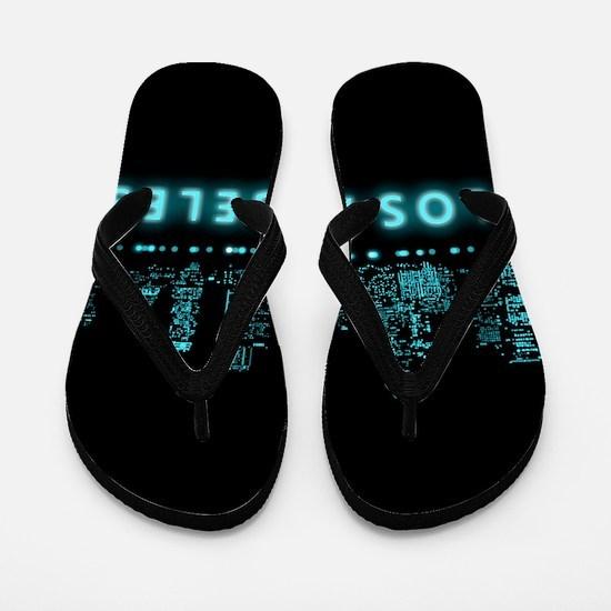 Digital Cityscape: Los Angeles, Califor Flip Flops