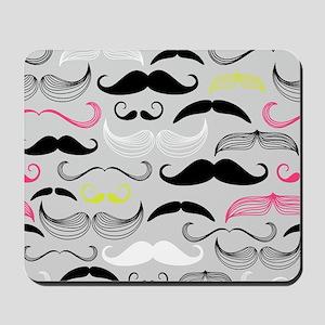 Pink, Yellow & Grey Mustache Design Mousepad