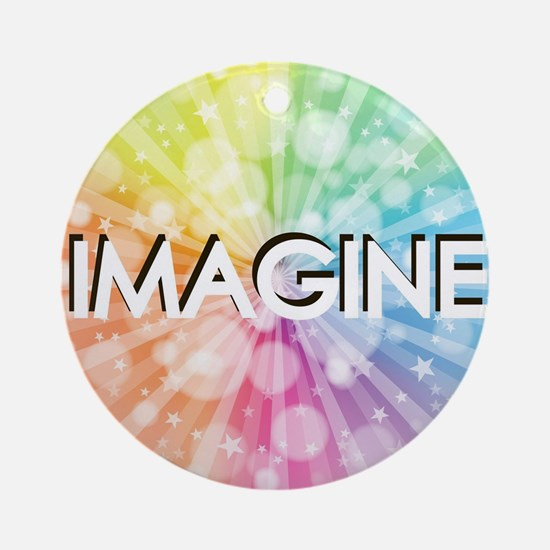 IMAGINE, RAINBOW,  Round Ornament