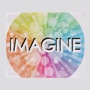 IMAGINE, RAINBOW,  Throw Blanket