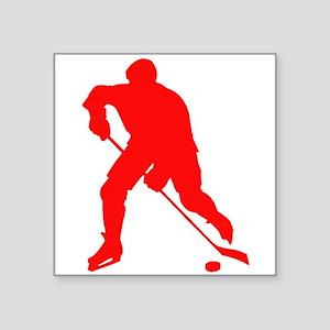 Red Hockey Player Silhouette Sticker