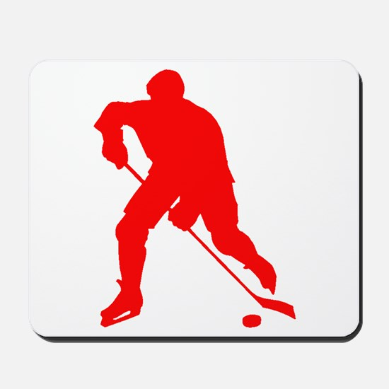 Red Hockey Player Silhouette Mousepad