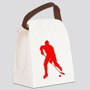 Red Hockey Player Silhouette Canvas Lunch Bag