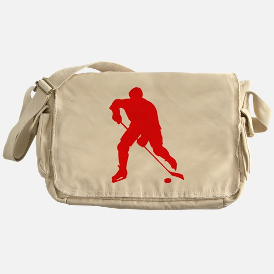 Red Hockey Player Silhouette Messenger Bag