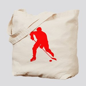 Red Hockey Player Silhouette Tote Bag