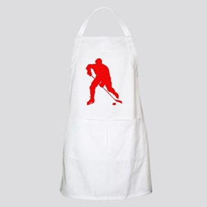 Red Hockey Player Silhouette Apron