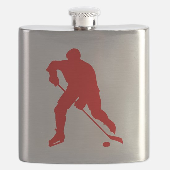 Red Hockey Player Silhouette Flask
