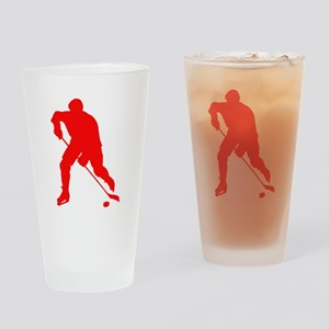 Red Hockey Player Silhouette Drinking Glass