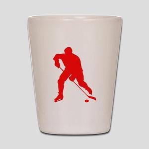Red Hockey Player Silhouette Shot Glass