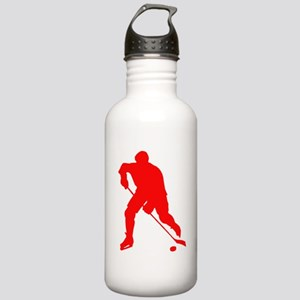 Red Hockey Player Silhouette Water Bottle
