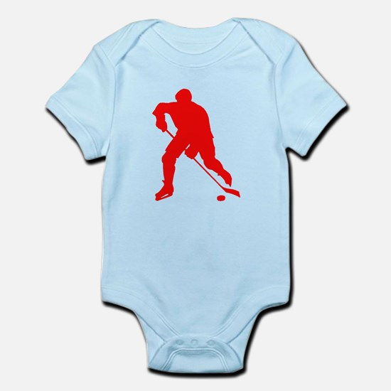 Red Hockey Player Silhouette Body Suit