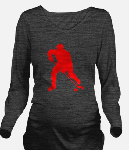 Red Hockey Player Silhouette Long Sleeve Maternity