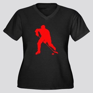 Red Hockey Player Silhouette Plus Size T-Shirt