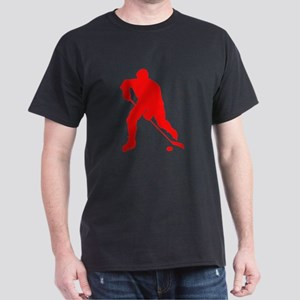 Red Hockey Player Silhouette T-Shirt