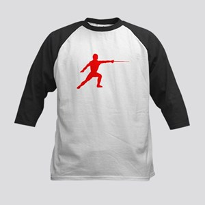 Red Fencer Silhouette Baseball Jersey
