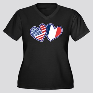 USA France Love Hearts Plus Size T-Shirt