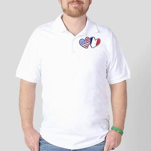 USA France Love Hearts Golf Shirt