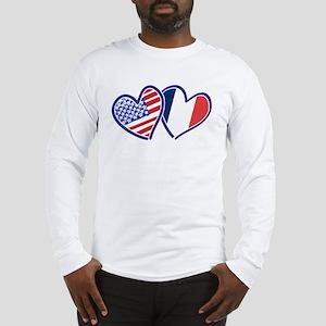 USA France Love Hearts Long Sleeve T-Shirt