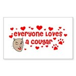 Everyone Loves a Cougar Rectangle Sticker