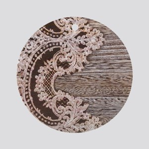 rustic wood lace Round Ornament