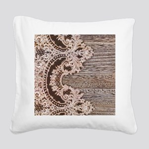 rustic wood lace Square Canvas Pillow