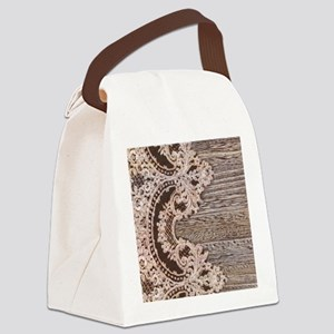 rustic wood lace Canvas Lunch Bag