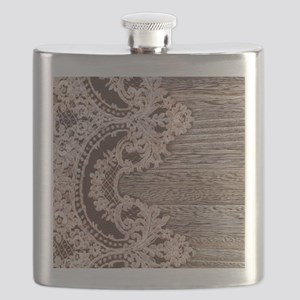 rustic wood lace Flask