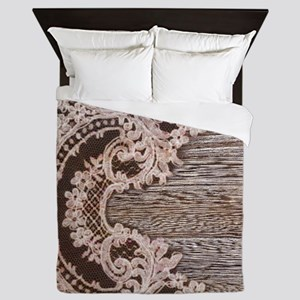 rustic wood lace Queen Duvet