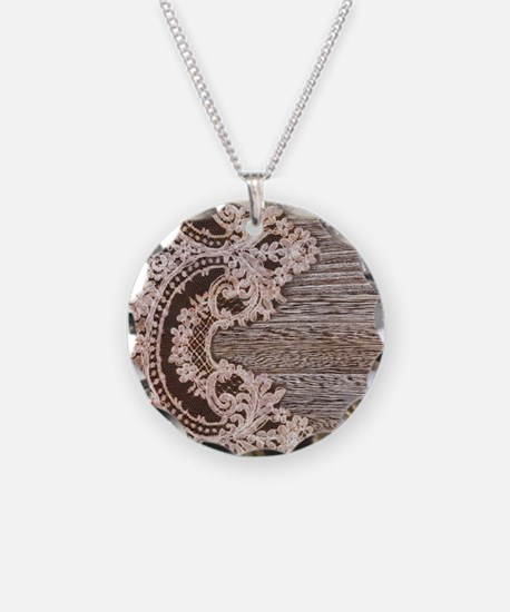 rustic wood lace Necklace