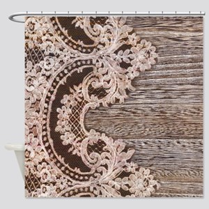 rustic wood lace Shower Curtain
