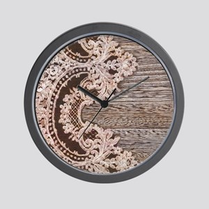 rustic wood lace Wall Clock