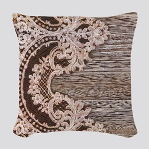 rustic wood lace Woven Throw Pillow