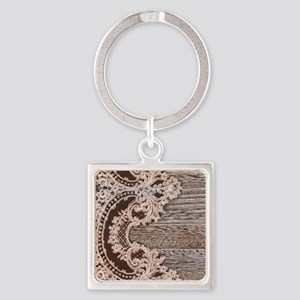 rustic wood lace Square Keychain