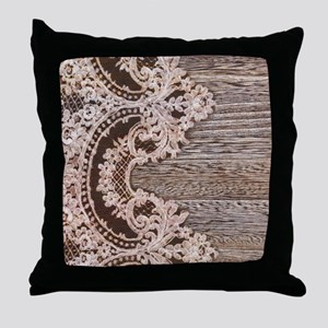 rustic wood lace Throw Pillow